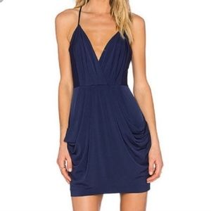 BCBG Navy drape dress with pockets!
